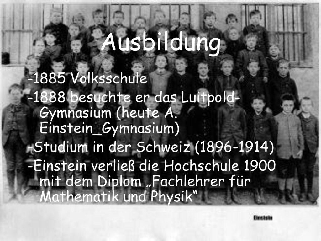 Ausbildung -1885 Volksschule