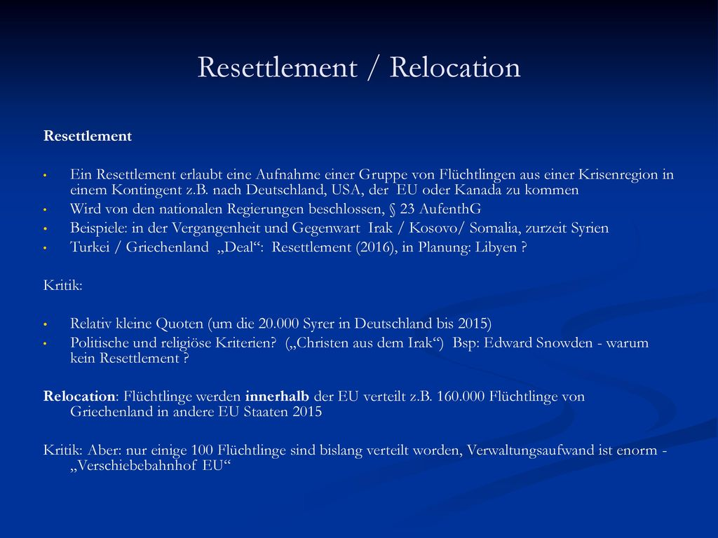 Resettlement / Relocation