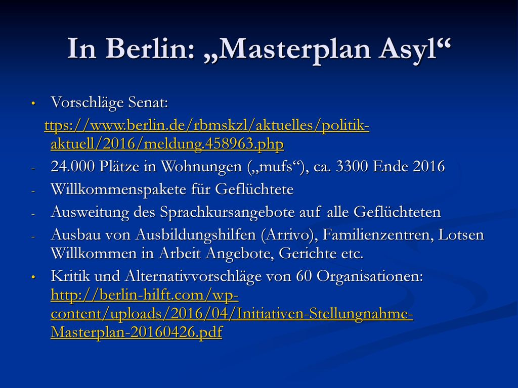 "In Berlin: ""Masterplan Asyl"