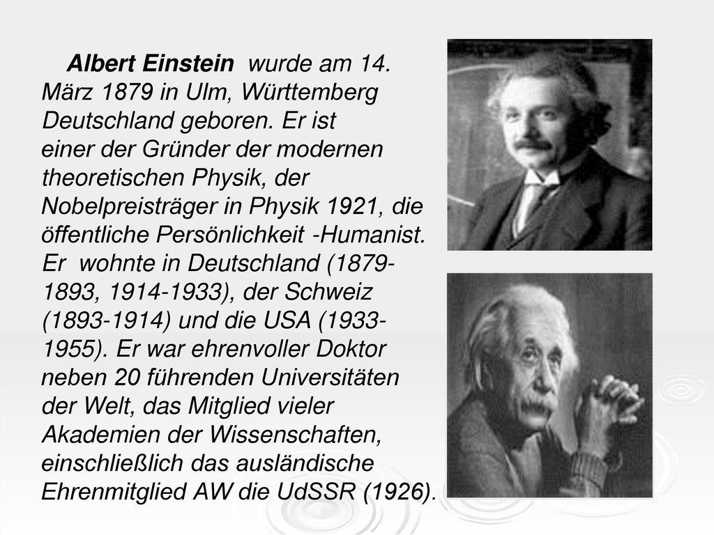 Albert Einstein wurde am 14