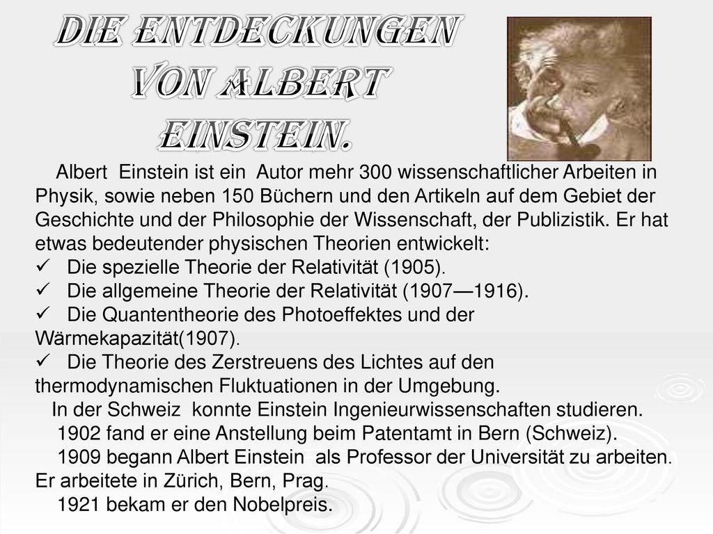 Die Entdeckungen von Albert Einstein.