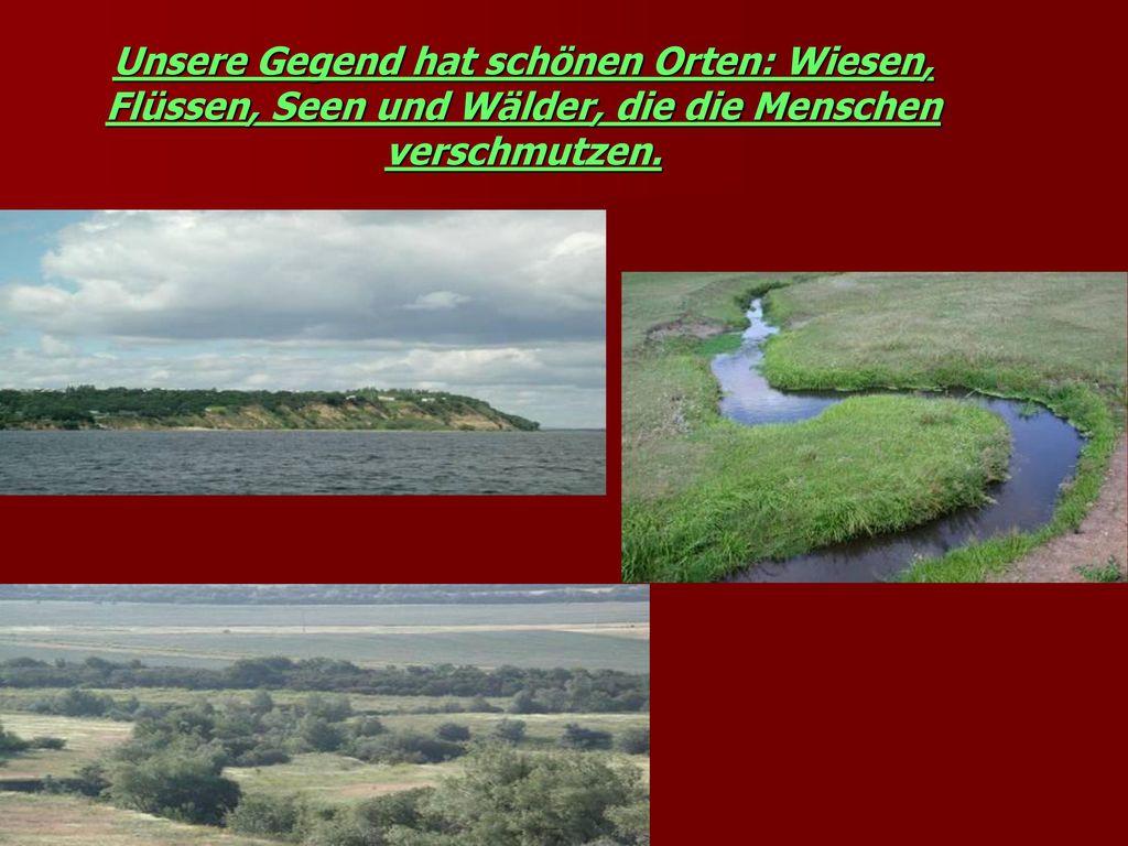Unsere Gegend hat schönen Orten: Wiesen, Flüssen, Seen und Wälder, die die Menschen verschmutzen.