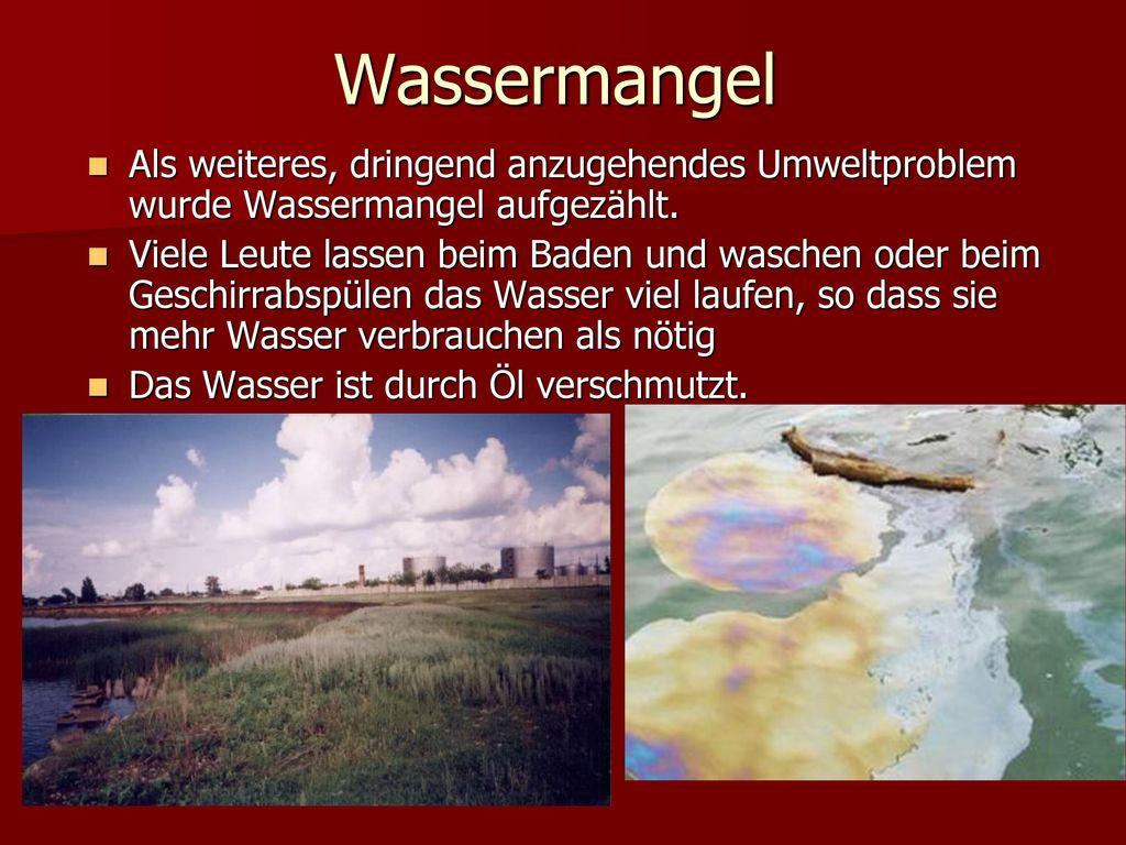 Wassermangel Als weiteres, dringend anzugehendes Umweltproblem wurde Wassermangel aufgezählt.