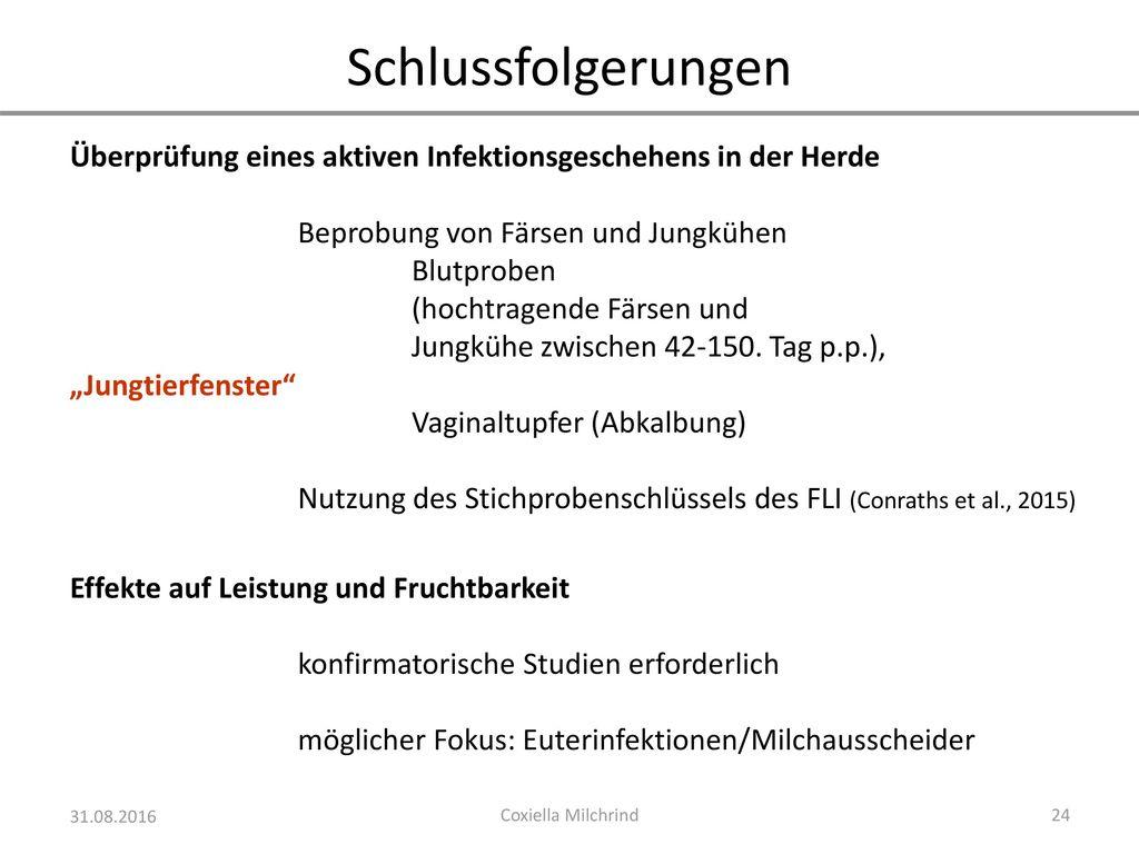 Schlussfolgerungen Überprüfung eines aktiven Infektionsgeschehens in der Herde. Beprobung von Färsen und Jungkühen.