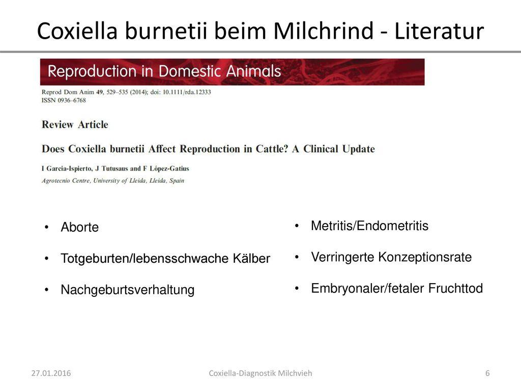 Coxiella burnetii beim Milchrind - Literatur