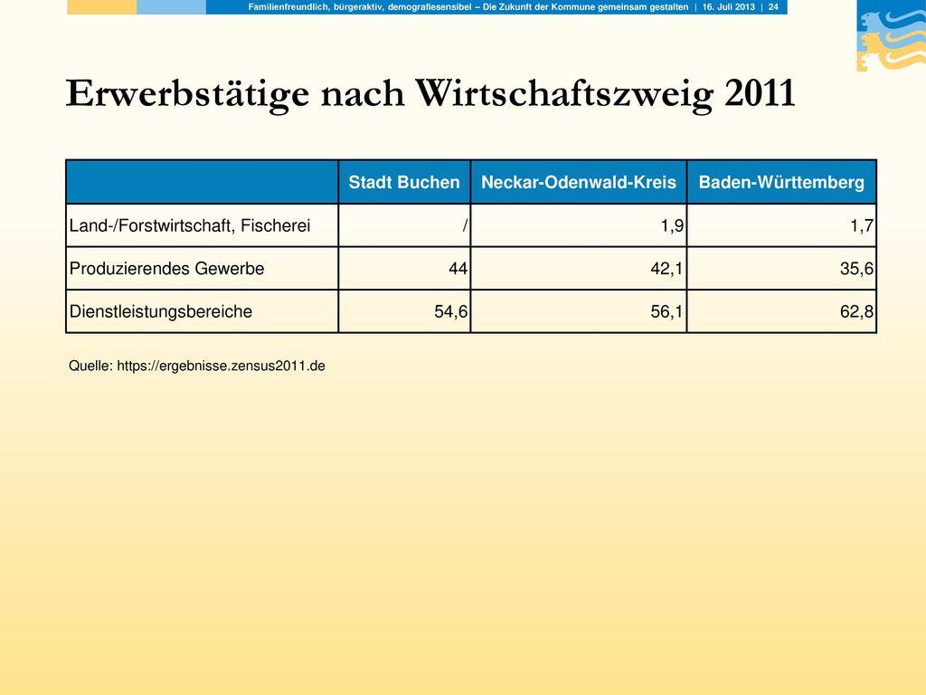 Erwerbstätige nach Wirtschaftszweig 2011