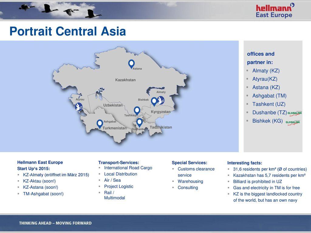 Portrait Central Asia offices and partner in: Almaty (KZ) Atyrau(KZ)