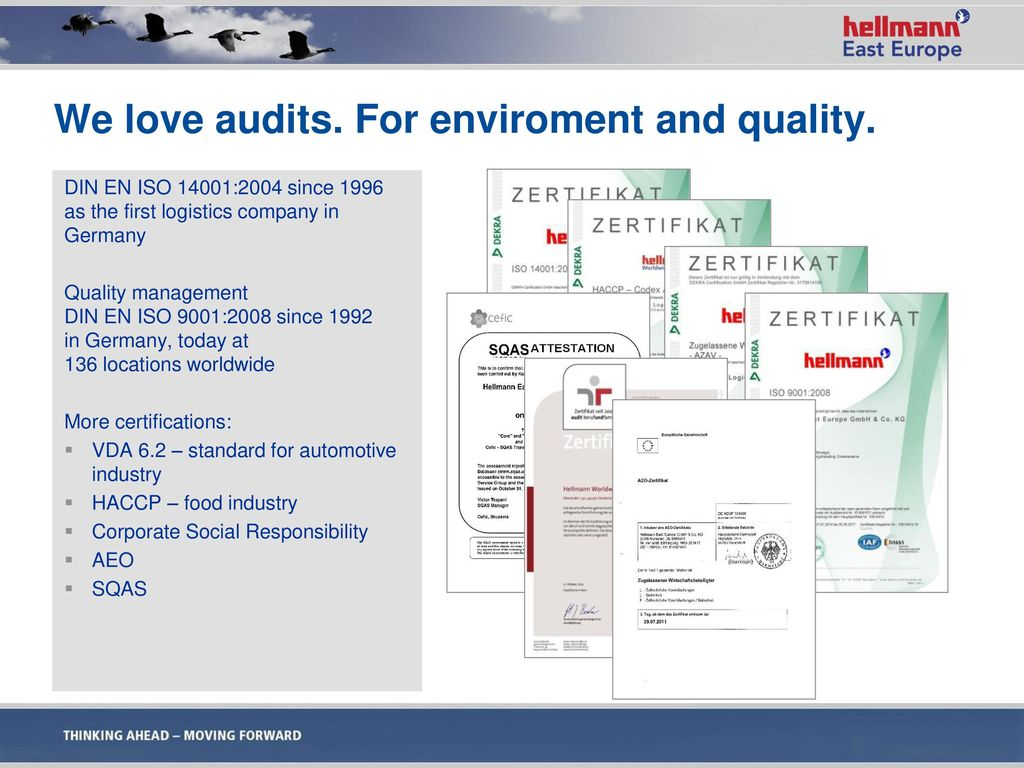We love audits. For enviroment and quality.