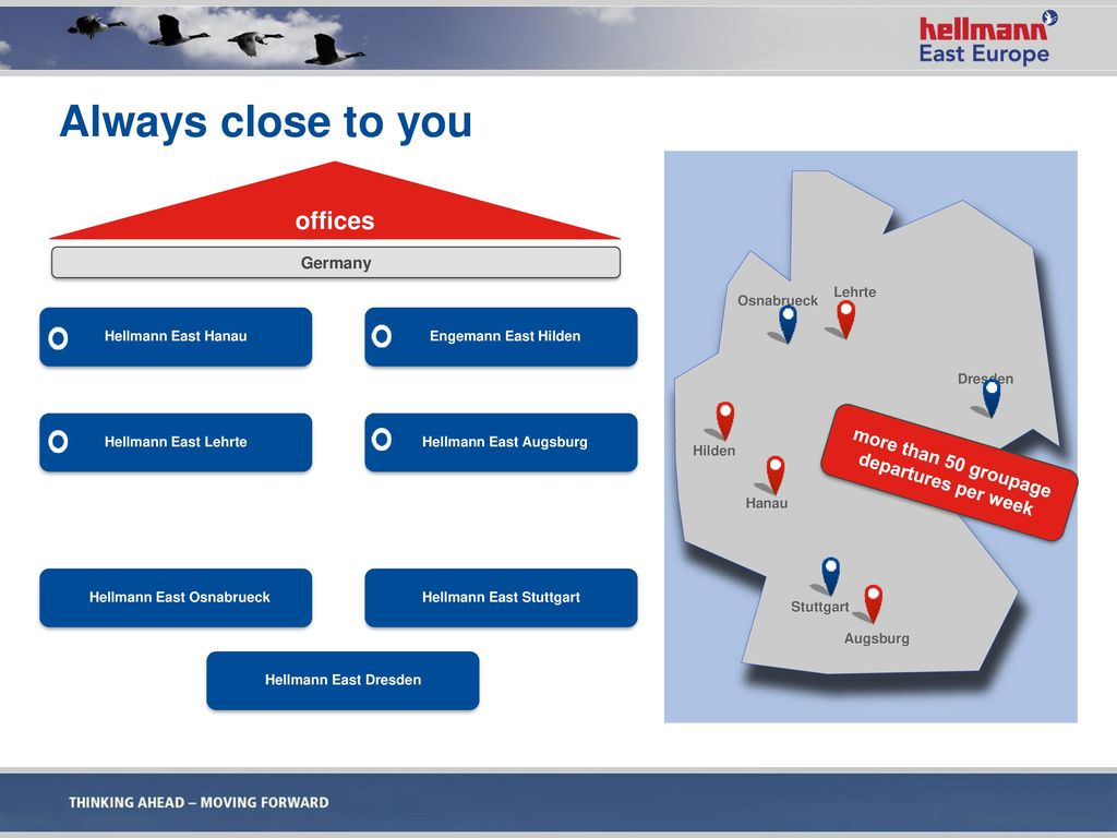 Always close to you offices more than 50 groupage departures per week