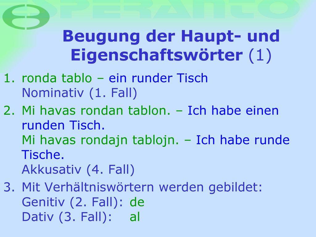 Beugung der Haupt- und Eigenschaftswörter (1)