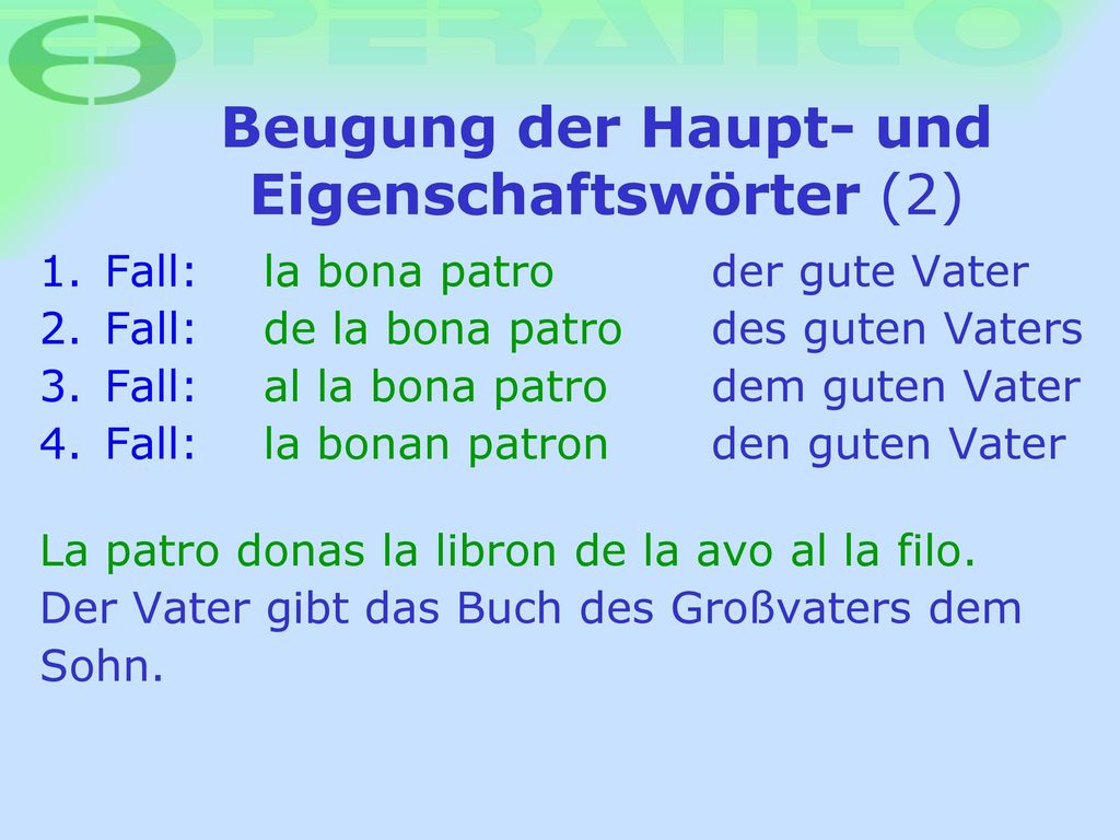 Beugung der Haupt- und Eigenschaftswörter (2)