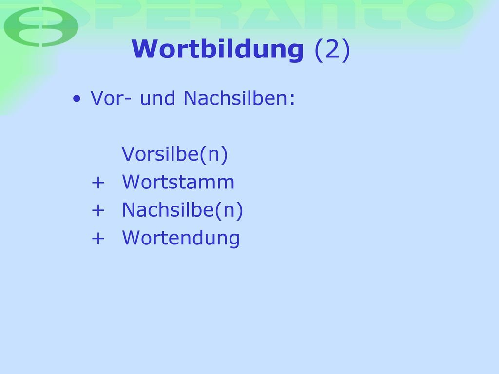 Wortbildung (2) Vor- und Nachsilben: Vorsilbe(n) + Wortstamm