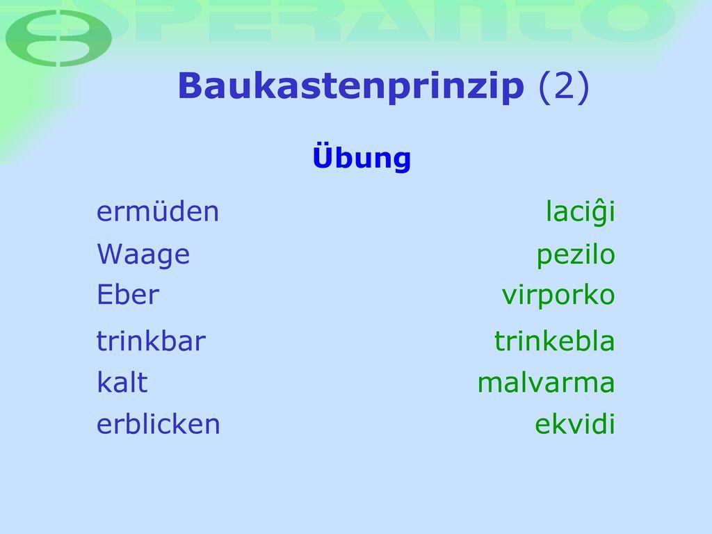 Baukastenprinzip (2) Übung ermüden laciøi Waage pezilo Eber virporko