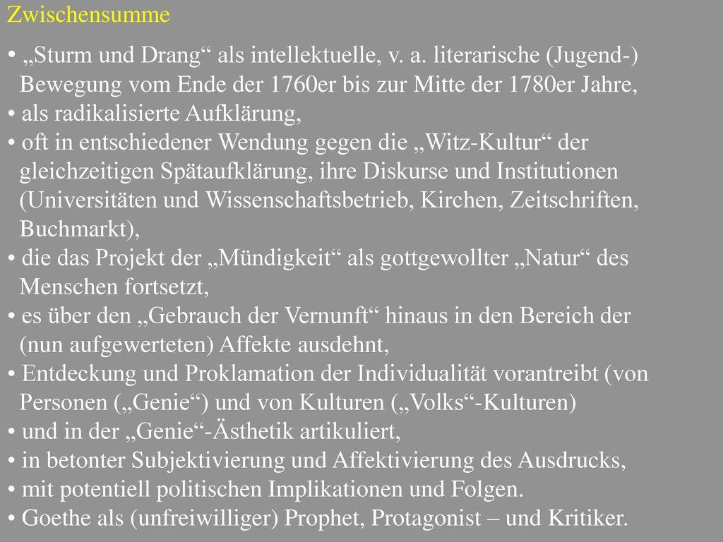 """Sturm und Drang als intellektuelle, v. a. literarische (Jugend-)"