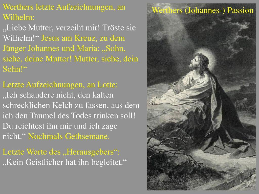 Werthers letzte Aufzeichnungen, an Wilhelm: