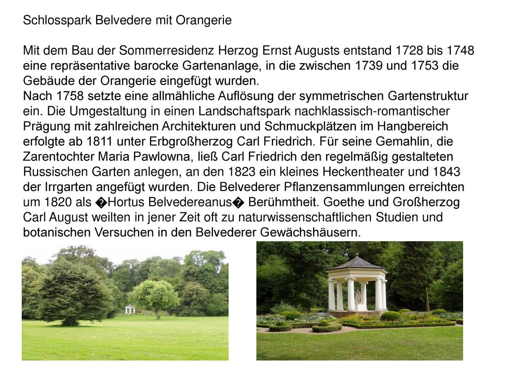 Schlosspark Belvedere mit Orangerie