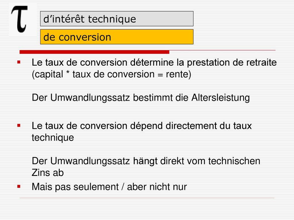 d'intérêt technique de conversion.
