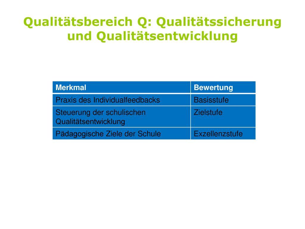 Qualitätsbereich Q: Qualitätssicherung und Qualitätsentwicklung