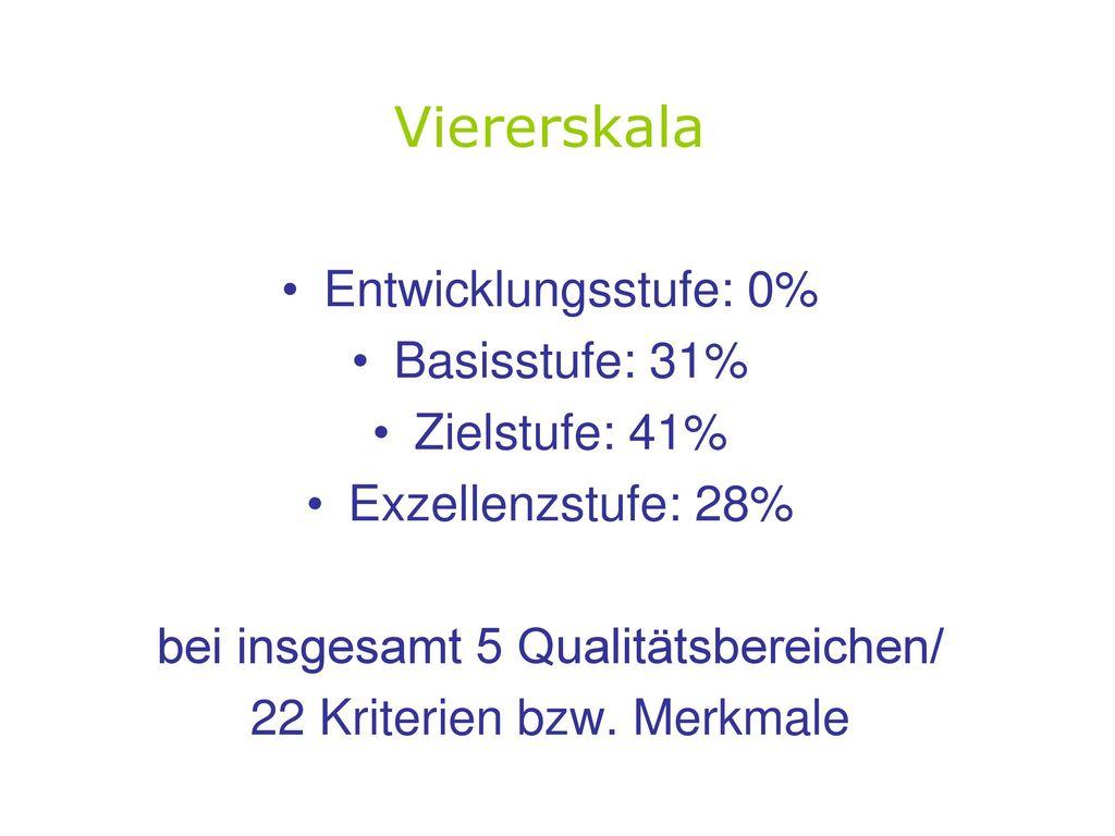 Viererskala Entwicklungsstufe: 0% Basisstufe: 31% Zielstufe: 41%