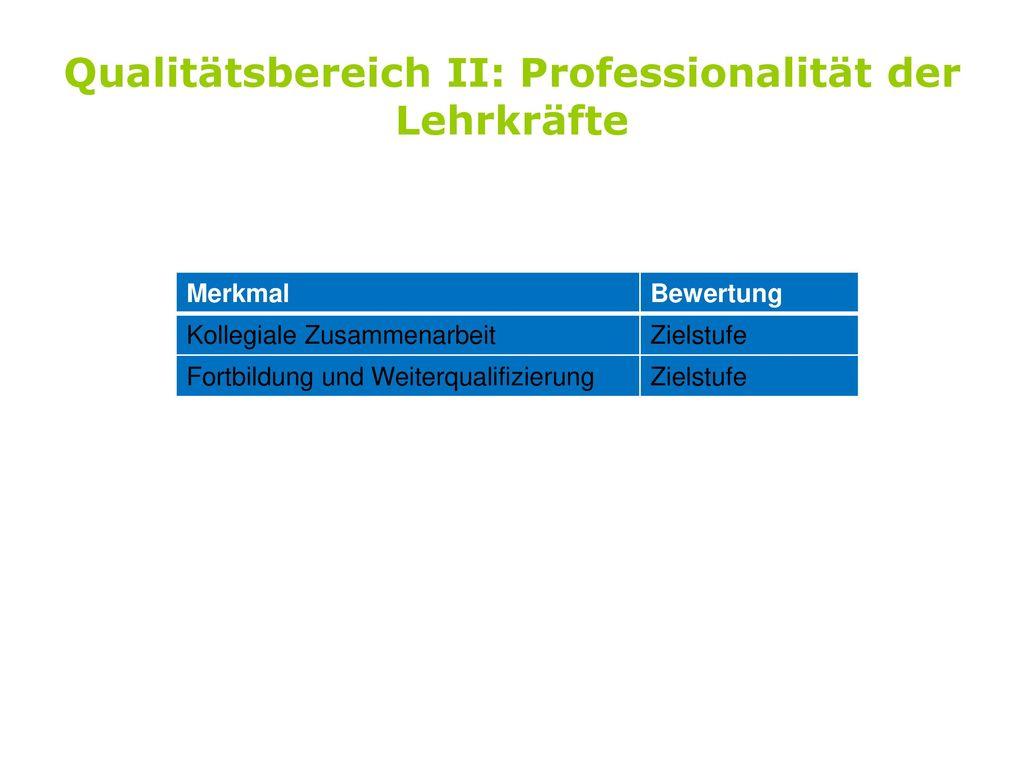 Qualitätsbereich II: Professionalität der Lehrkräfte