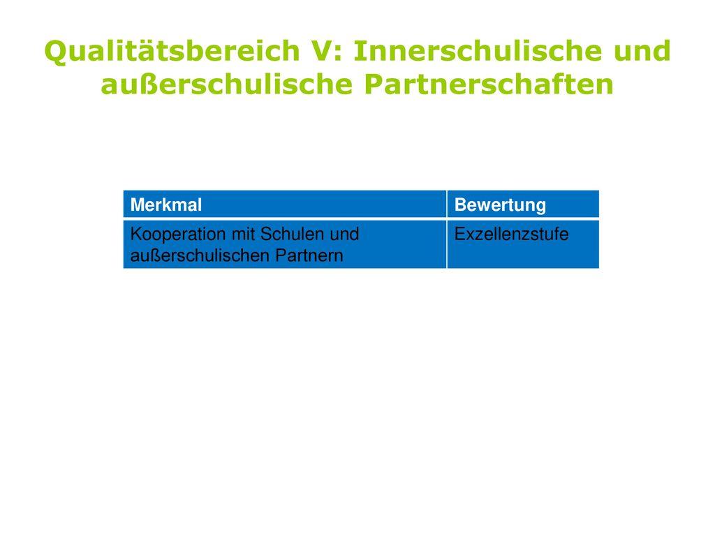 Qualitätsbereich V: Innerschulische und außerschulische Partnerschaften