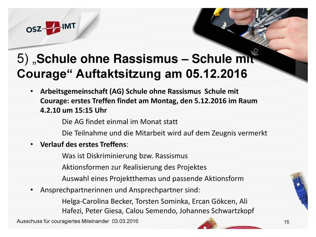 """5) """"Schule ohne Rassismus – Schule mit Courage Auftaktsitzung am 05"""