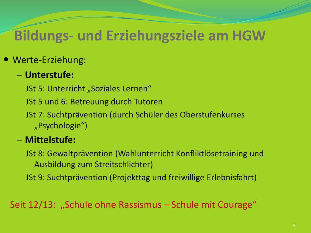 Bildungs- und Erziehungsziele am HGW