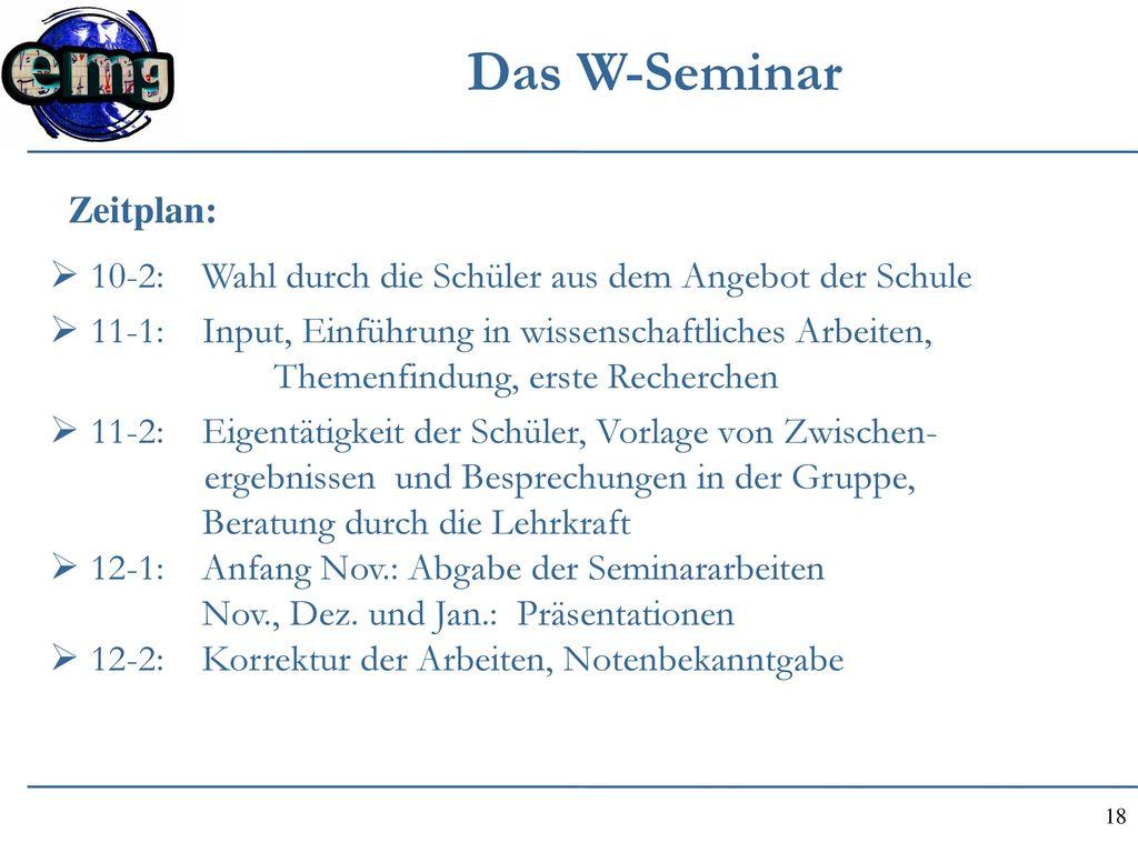 Das W-Seminar Zeitplan: