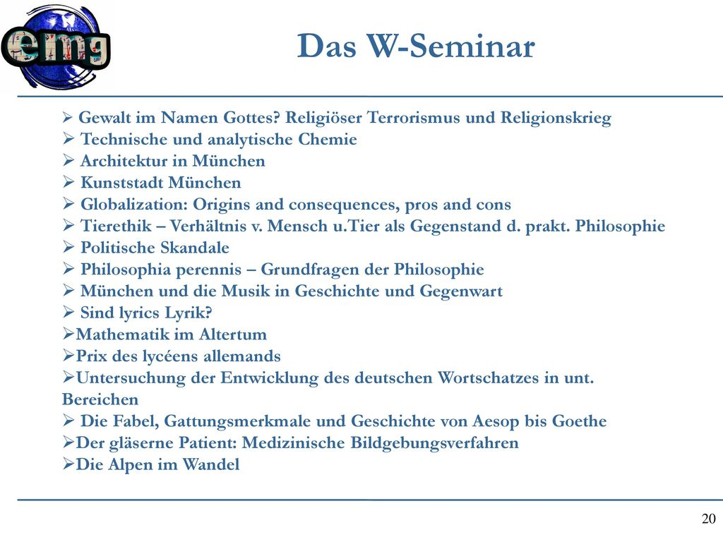 Das W-Seminar Technische und analytische Chemie Architektur in München
