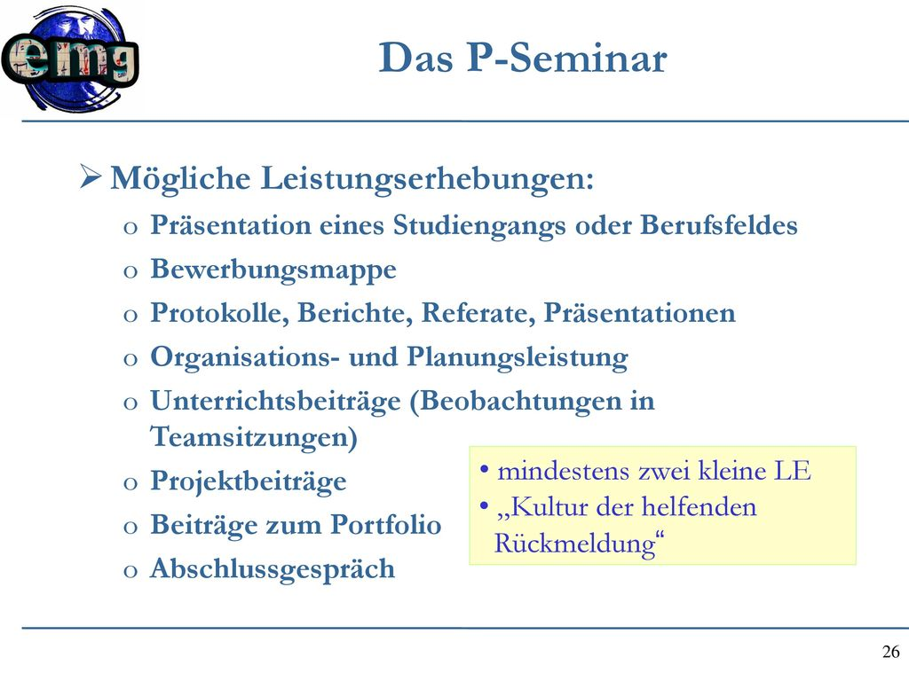 Das P-Seminar Mögliche Leistungserhebungen: