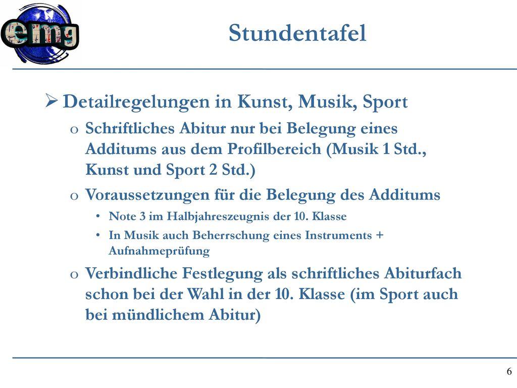 Stundentafel Detailregelungen in Kunst, Musik, Sport