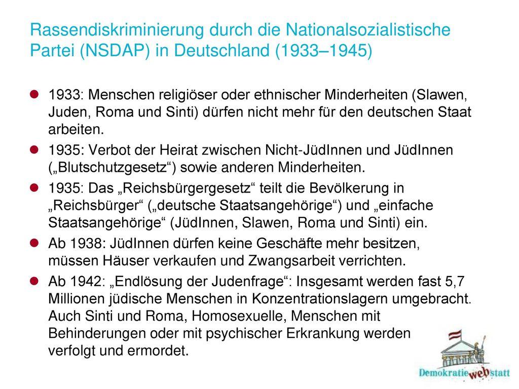 Rassendiskriminierung durch die Nationalsozialistische Partei (NSDAP) in Deutschland (1933–1945)