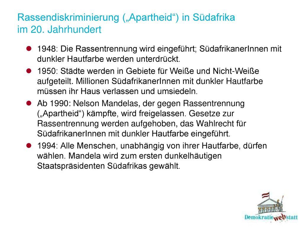 """Rassendiskriminierung (""""Apartheid ) in Südafrika im 20. Jahrhundert"""