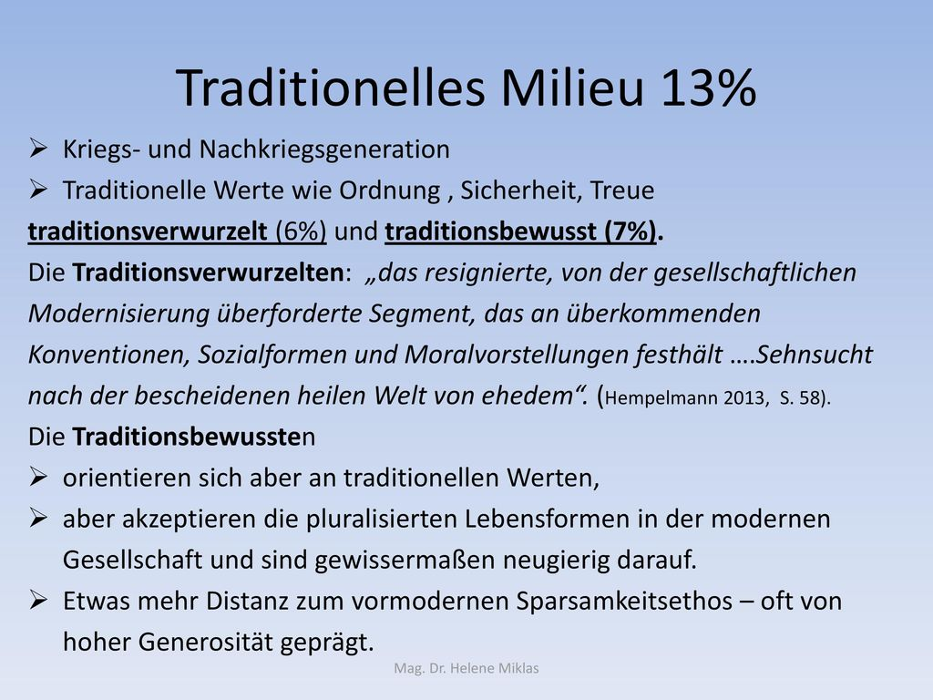 Traditionelles Milieu 13%