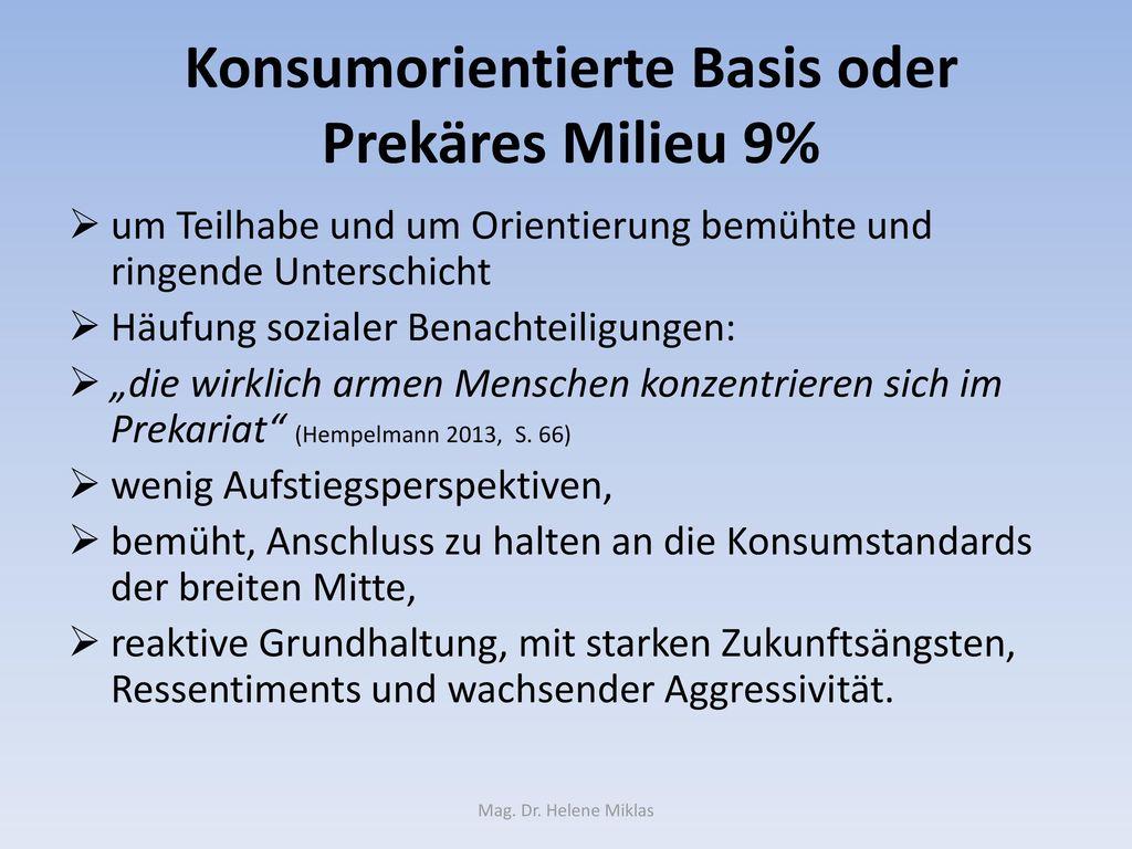 Konsumorientierte Basis oder Prekäres Milieu 9%