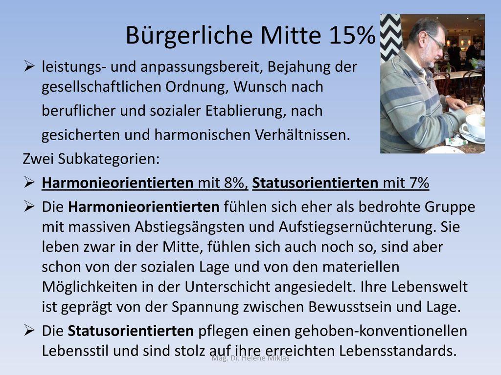 Bürgerliche Mitte 15% leistungs- und anpassungsbereit, Bejahung der gesellschaftlichen Ordnung, Wunsch nach.