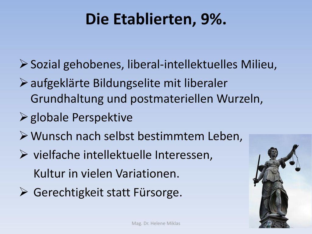 Die Etablierten, 9%. Sozial gehobenes, liberal-intellektuelles Milieu,