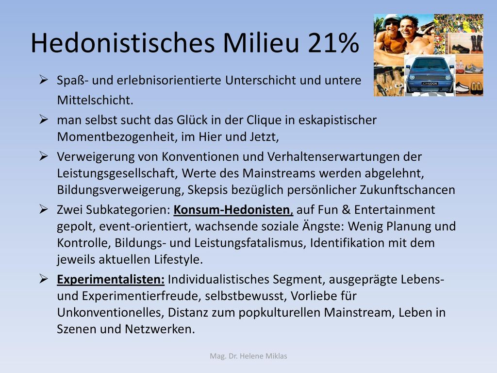 Hedonistisches Milieu 21%