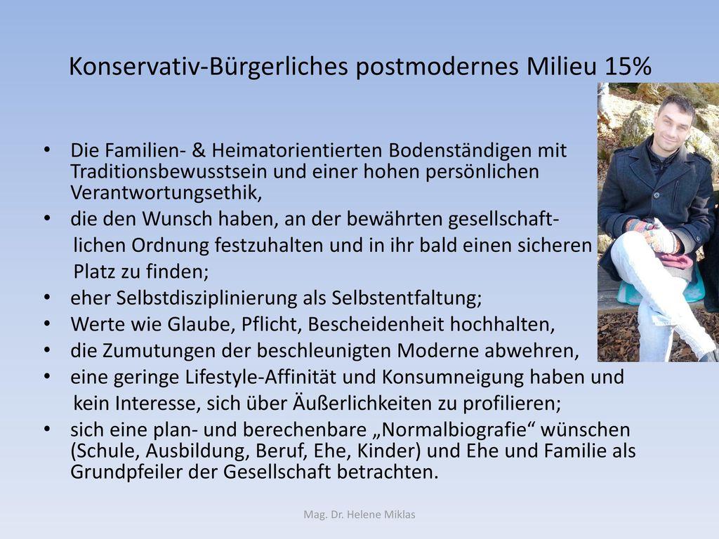 Konservativ-Bürgerliches postmodernes Milieu 15%