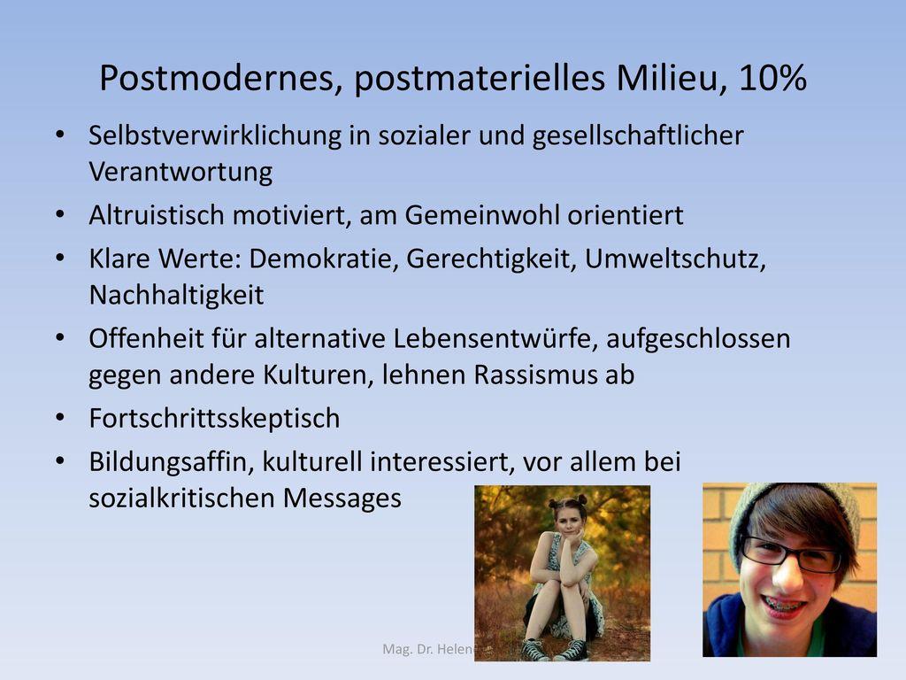 Postmodernes, postmaterielles Milieu, 10%