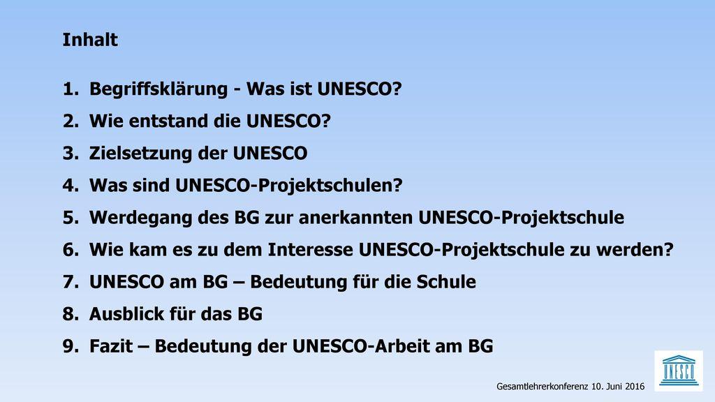 Begriffsklärung - Was ist UNESCO Wie entstand die UNESCO