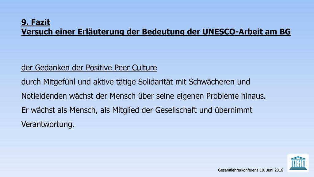 Versuch einer Erläuterung der Bedeutung der UNESCO-Arbeit am BG