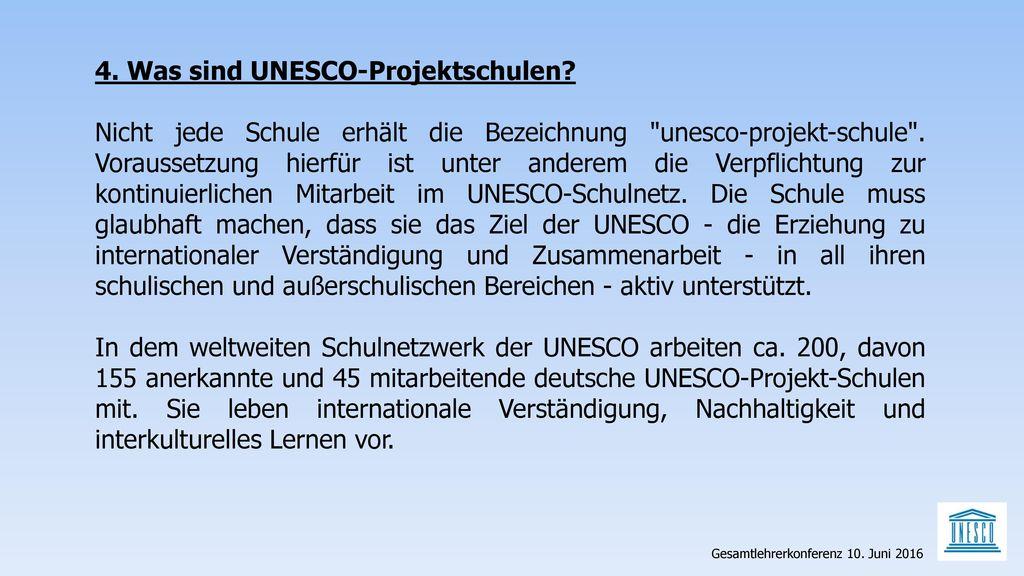4. Was sind UNESCO-Projektschulen