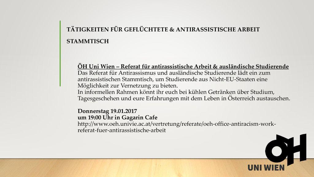 Tätigkeiten für Geflüchtete & antirassistische Arbeit STAMMTISCH