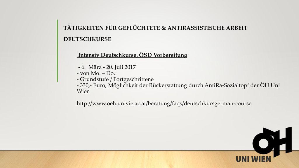 Tätigkeiten für Geflüchtete & antirassistische Arbeit Deutschkurse