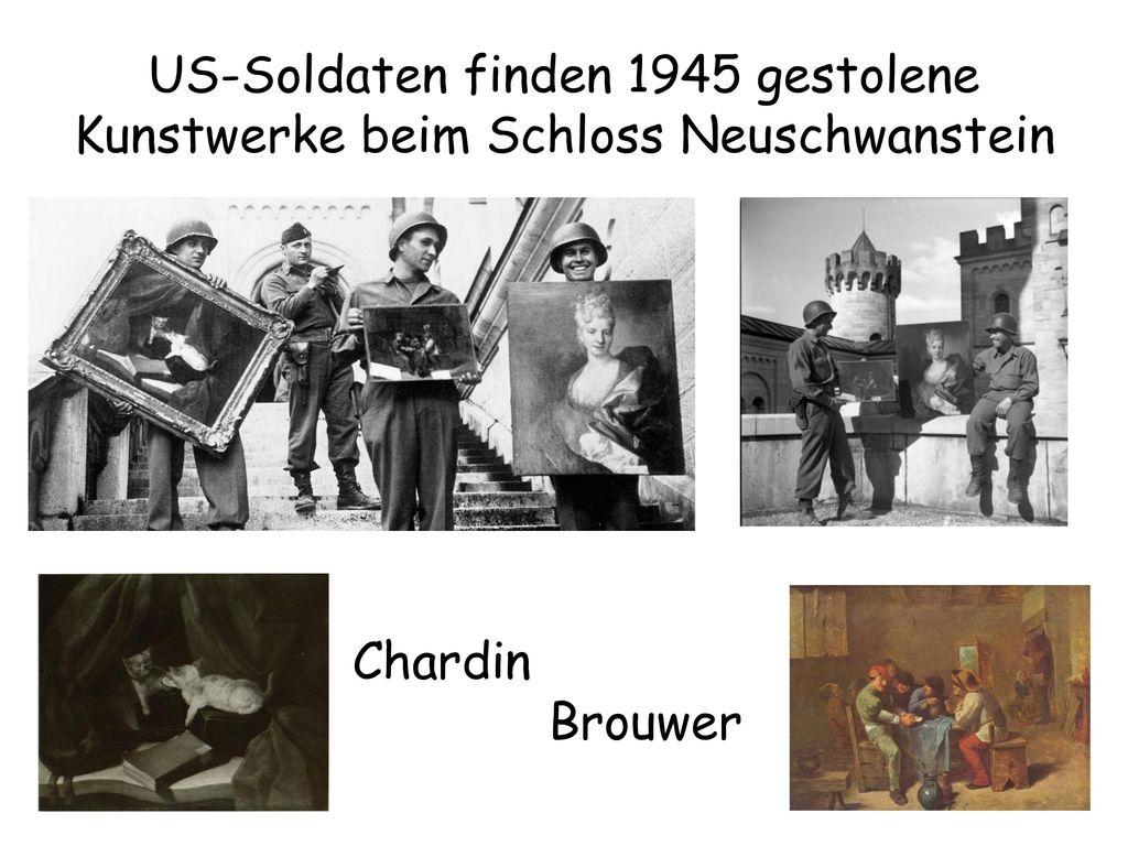 US-Soldaten finden 1945 gestolene Kunstwerke beim Schloss Neuschwanstein