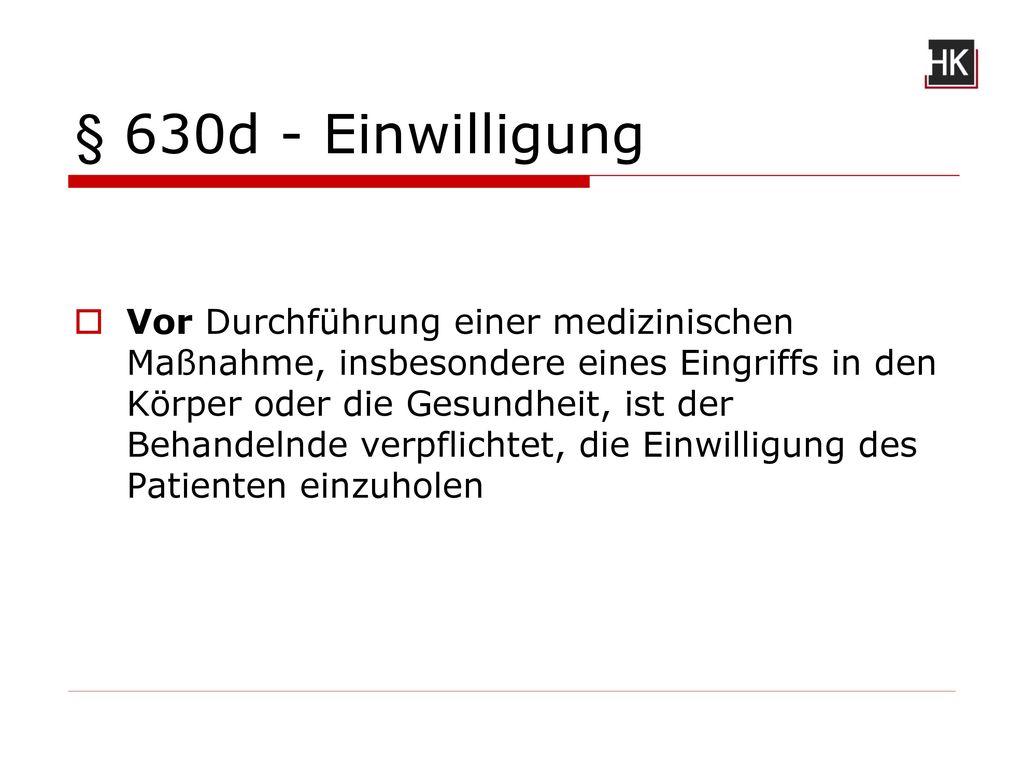 § 630d - Einwilligung