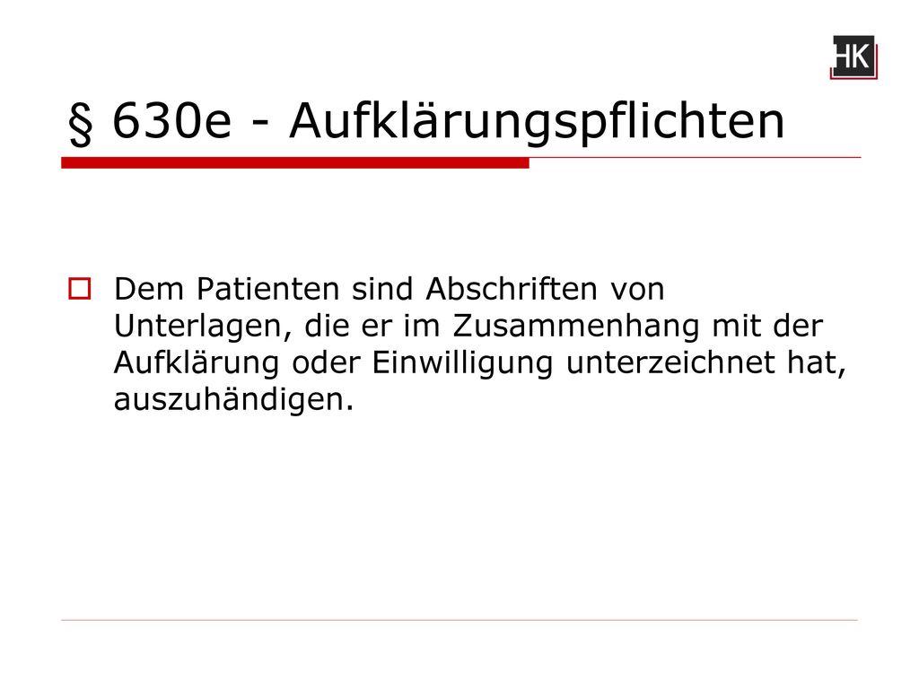 § 630e - Aufklärungspflichten