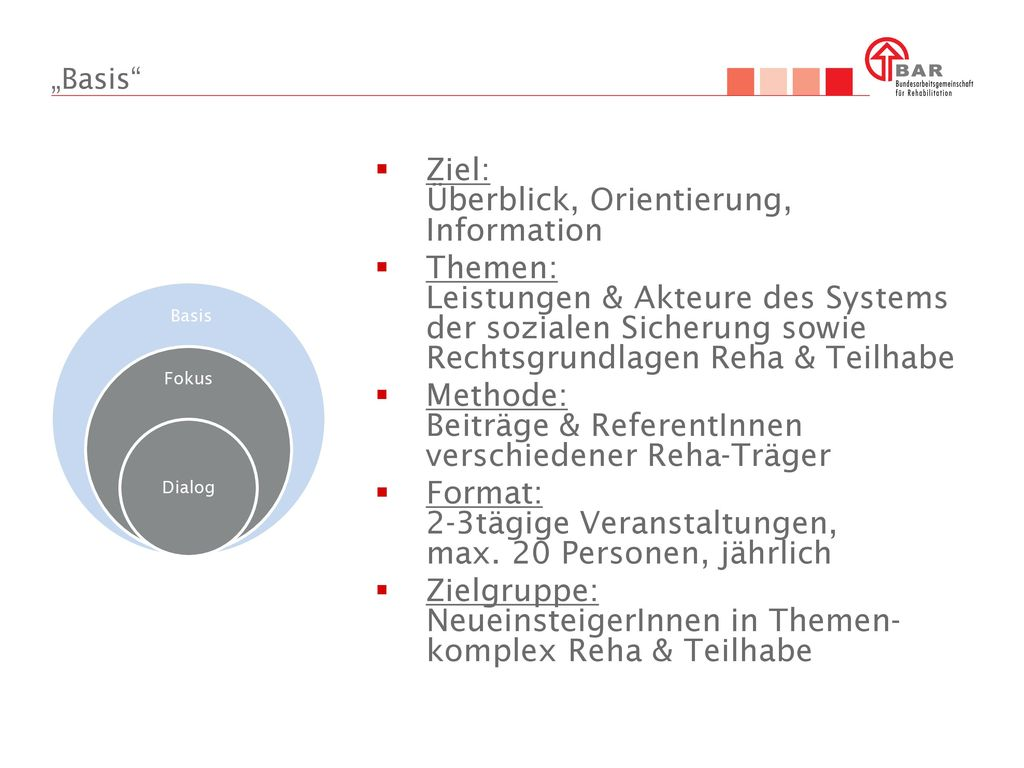 Ziel: Überblick, Orientierung, Information