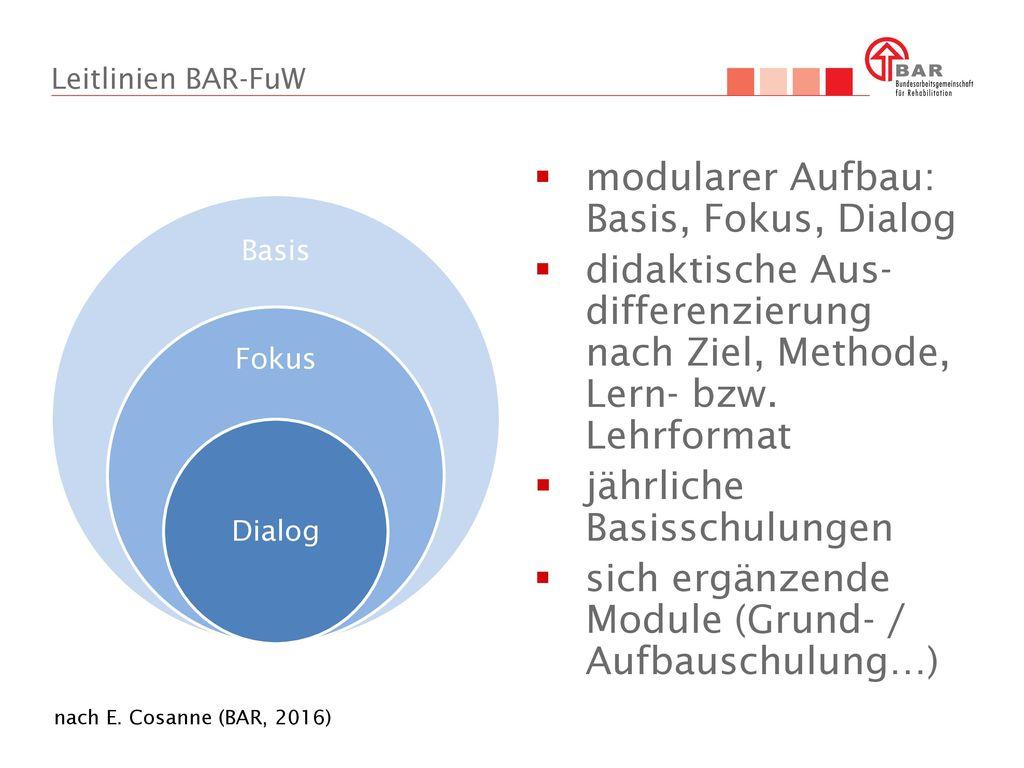 modularer Aufbau: Basis, Fokus, Dialog